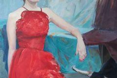 18-Katarzyna-Bukowska-Gabrysia-w-czerwonej-sukience-olej-100x70cm